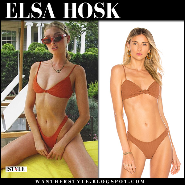 Elsa Hosk in brown knot-front bikini minimale animale model beach style july 2018