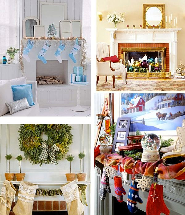 ideas for Christmas mantel fireplace decoration