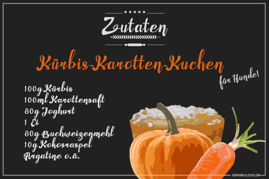Rezept: Halloween Kürbis-Karotten Kuchen für Hunde backen