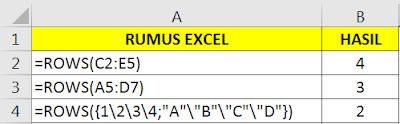 Contoh Fungsi ROWS Microsoft Excel