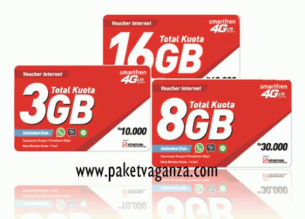 Pembagian Kuota Voucher Data Smartfren 3GB, 8GB dan 16GB
