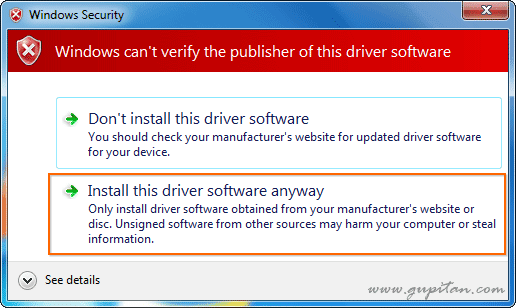 Instal this driver software anyway