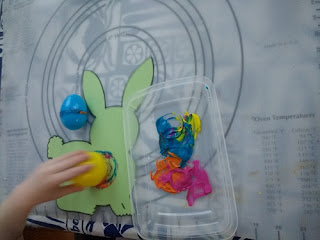 stamping the rabbit with Easter eggs