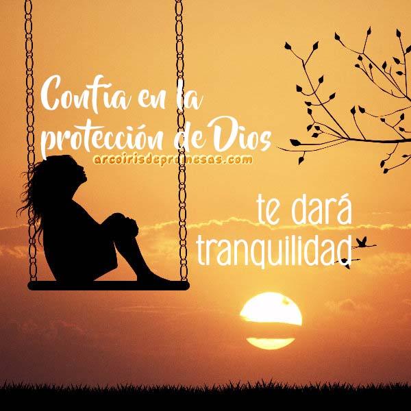 bajo la protección de dios mensaje cristiano con imagen arcoiris de promesas