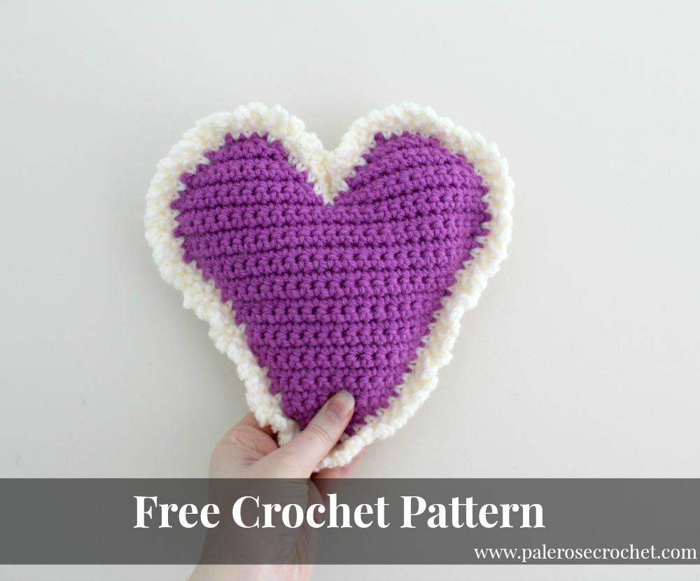 Love Crochet Patterns : Frilly Love Heart Crochet Pattern Pale Rose Crochet