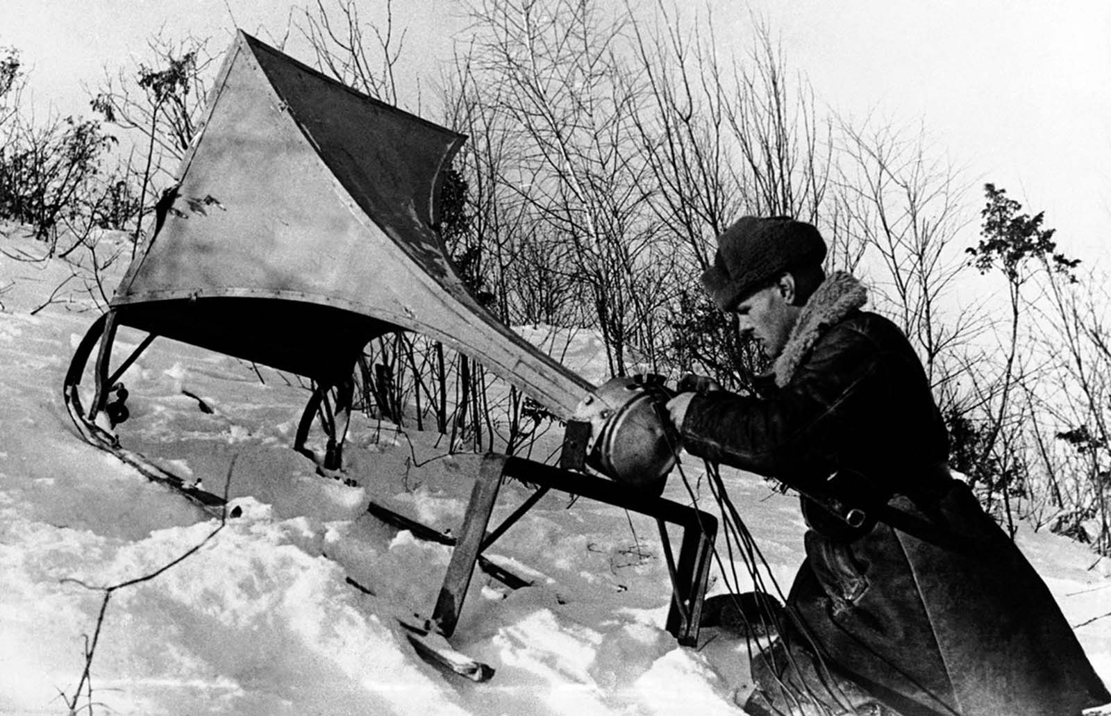 A field loud-speaker is set up to broadcast propaganda to German soldiers, somewhere in Russia, on April 21, 1942.