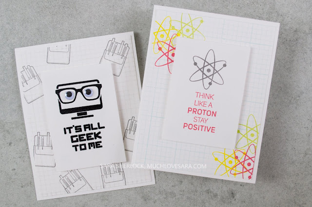 These easy clean and simple cards were created with the Geek Chic and Grid Paper stamps from Fun Stampers Journey.