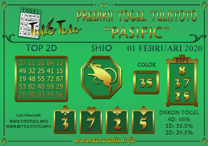 Prediksi Togel PASIFIC TULISTOTO 01 FEBRUARI 2020
