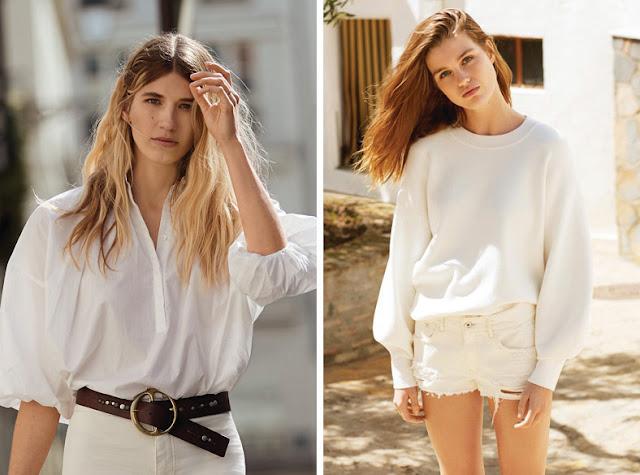 Девушки в узких белых брюках и объемном белом топе