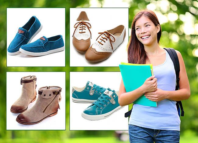 Beragam aplikasi flat menjadi model sepatu favorit untuk kuliah