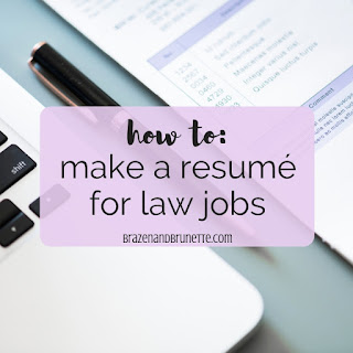 Tips for your legal resumé. What to put on a resumé for a summer associate, law clerk, or first-year associate position. Law clerk resumé tips. Summer associate resumé example. First year associate resumé sample. Working for law resumé. Skills and verbs for legal resumé. Law school resume advice and samples. 1L resume. 2L resume. 3L resume. Law grad resume. law school advice. law school blog. law student blogger | brazenandbrunette.com