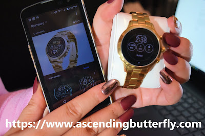 Michael Kors Access Smartwatch synced to LG phone via Wear OS Google App, imPRESS Gel Manicure