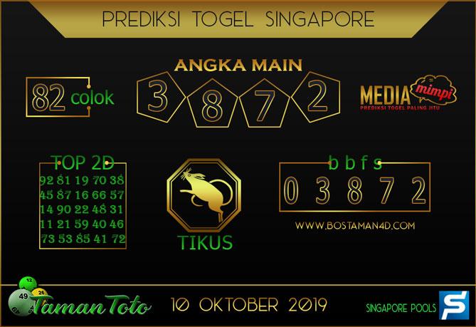 Prediksi Togel SINGAPORE TAMAN TOTO 10 OKTOBER 2019