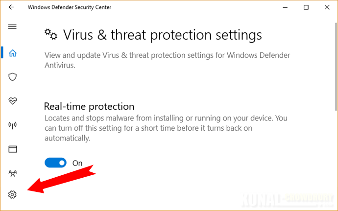 Virus and Threat Protection Settings in Windows Defender (www.kunal-chowdhury.com)