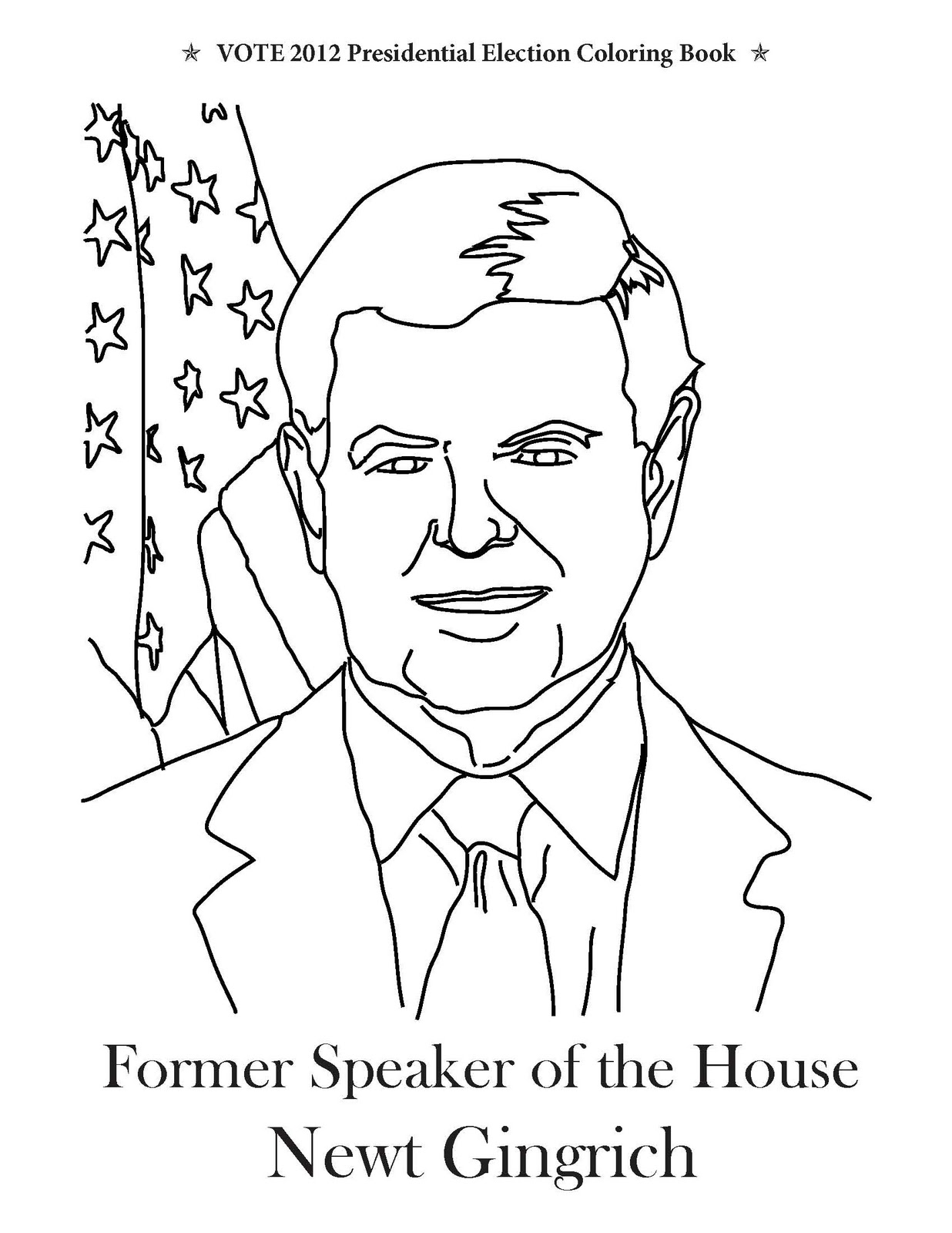 Vote Presidential Election Coloring Book Newt