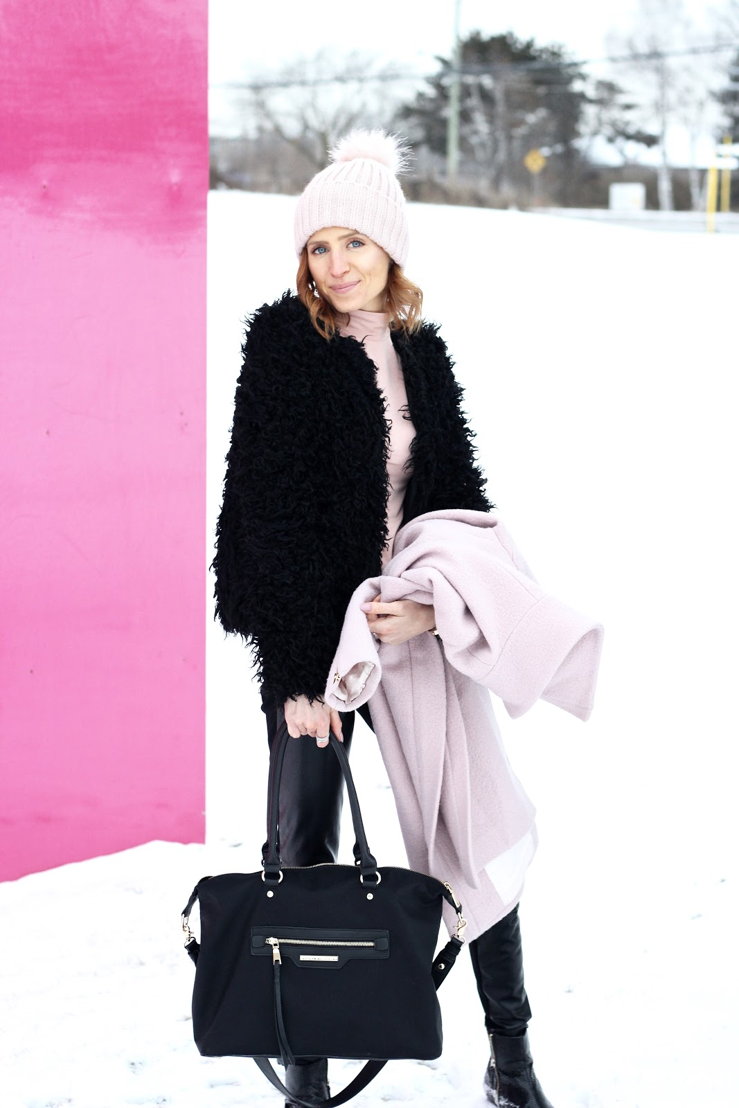 Pink Wool Coat Club Monaco, black shag coat, pink pom toque, Poppy & Peonies bag