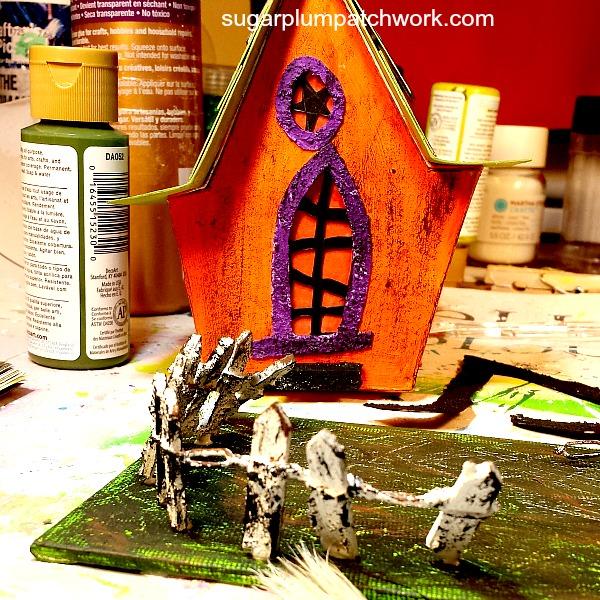 Orange Halloween glitter house in progress