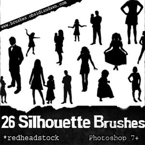 Pinceles de siluetas de personas photoshop