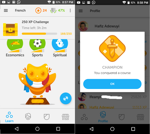 My plaque for completing French on Duolingo