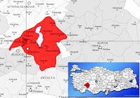 Isparta Gönen ilçesinin nerede olduğunu gösteren harita