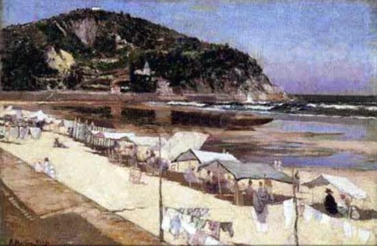 Playa de Zarauz, Juan Martínez Abades, Pintor español, Paisajes de Juan  Martínez Abades, Pintor Martínez Abades Pintores españoles, Pintores