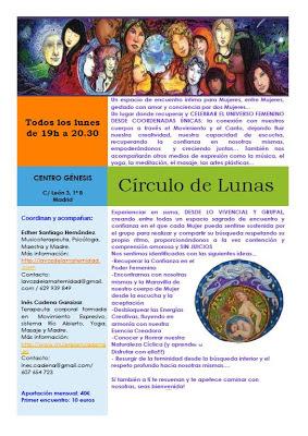 NUEVOS CÍRCULOS DE MUJERES, LUNES 17:00 Y 19:00 HORAS (CENTRO GÉNESIS, MADRID)