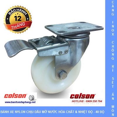 Bánh xe đẩy thủy sản càng inox 304 Colson Caster Mỹ tại Trà Vinh www.banhxeday.xyz