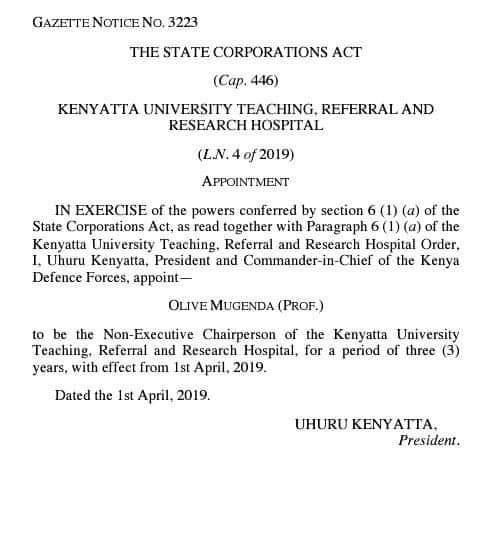 Prof  Olive Mugenda appointed to chair Kenyatta University hospital