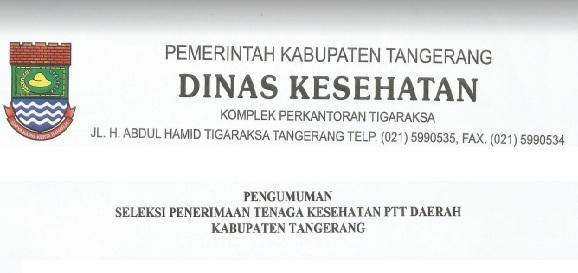 Lowongan Kerja Non CPNS, Lowongan kerja Dinas Kesehatan Tangerang [200 Formasi]