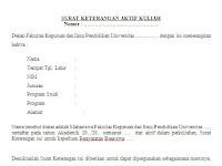 Contoh Surat Keterangan Aktif Kuliah untuk Pengajuan Beasiswa PPA & BBM