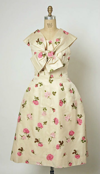 Rose printed garden party dress from Balenciaga's spring/summer 1958 collection
