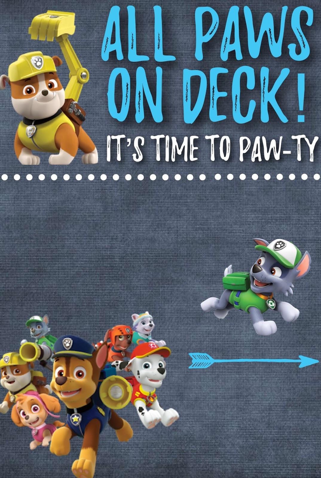 Paw Patrol Invite Free Printable