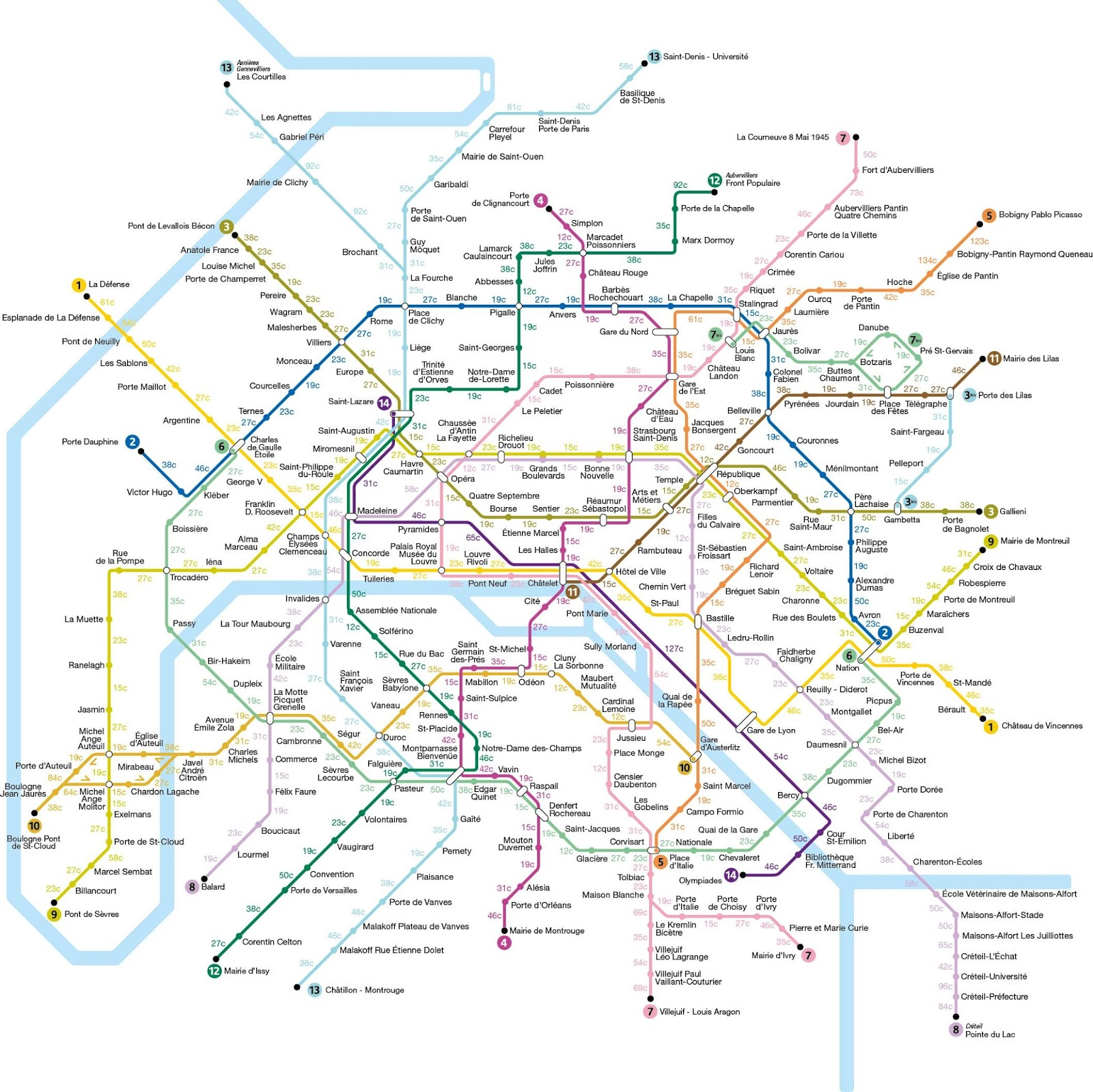 Map of Paris subway system that shows how many calories you would burn walking between stations