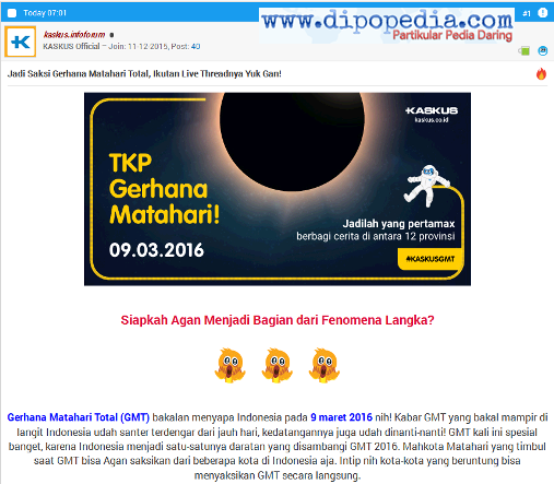 Screenshot Live Thread Kaskus Sambut Gerhana Matahari - Dipopedia