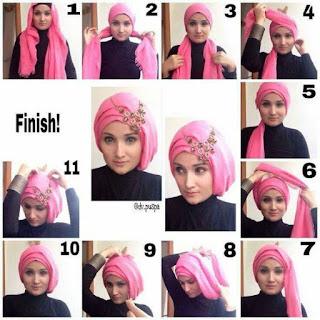 Tutorial Hijab Turban Modern Bikin Penampilan Semakin Cantik