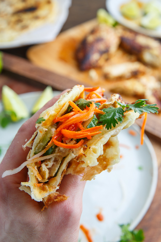 Thai Lemongrass Chicken Banh Mi Paratha Tacos