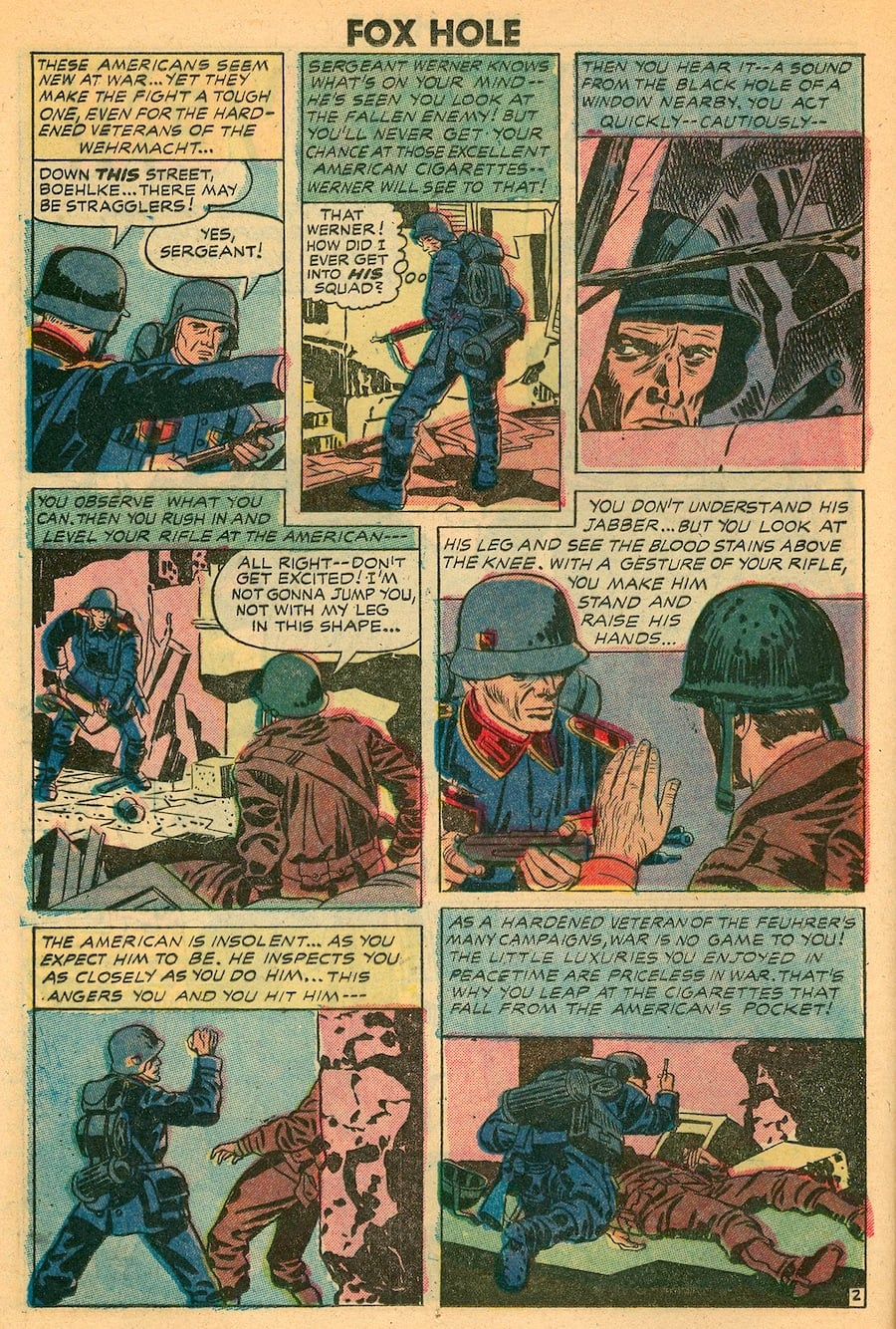 Foxhole #6 golden age war comic page by Jack Kirby