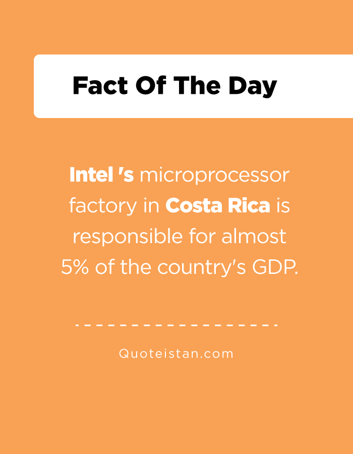 Intel 's microprocessor factory in Costa Rica is responsible for almost 5% of the country's GDP.
