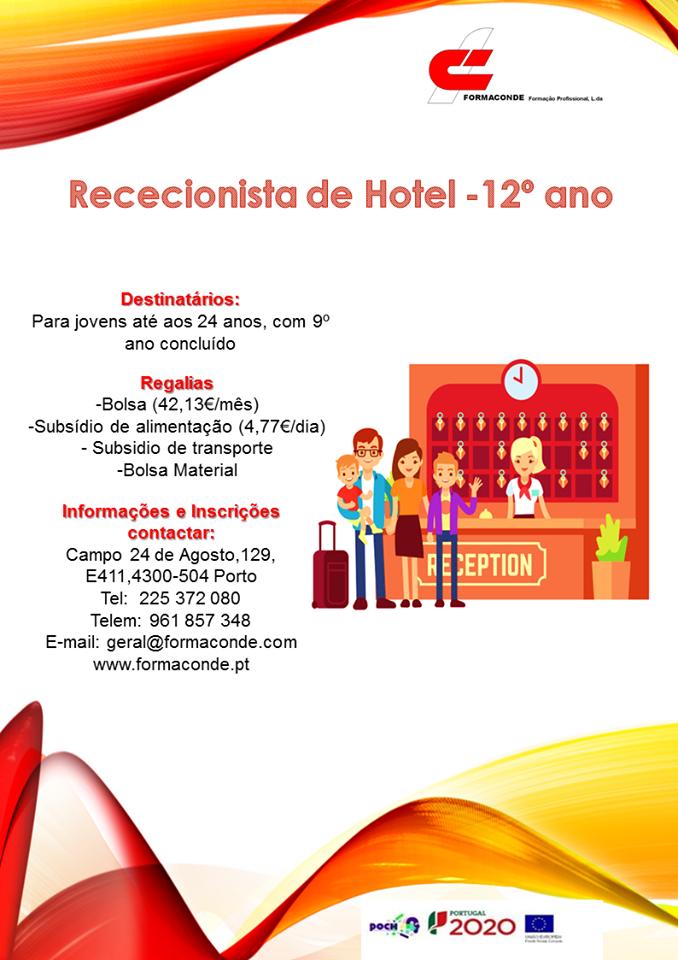 Curso financiado de rececionista de hotel no Porto
