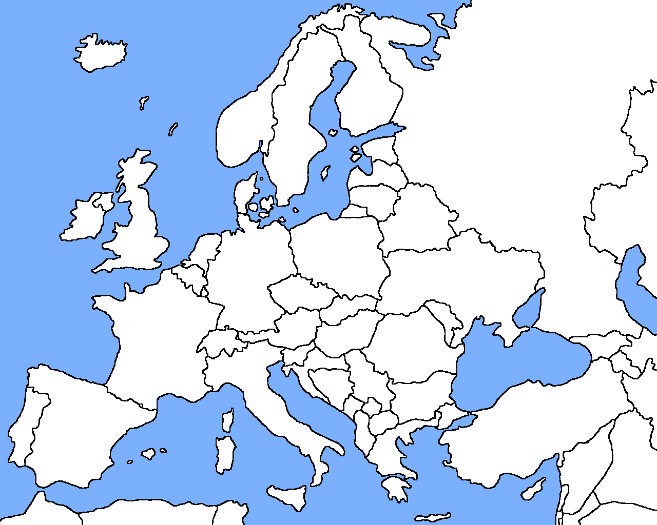 Blank Map Of Europe To Print: