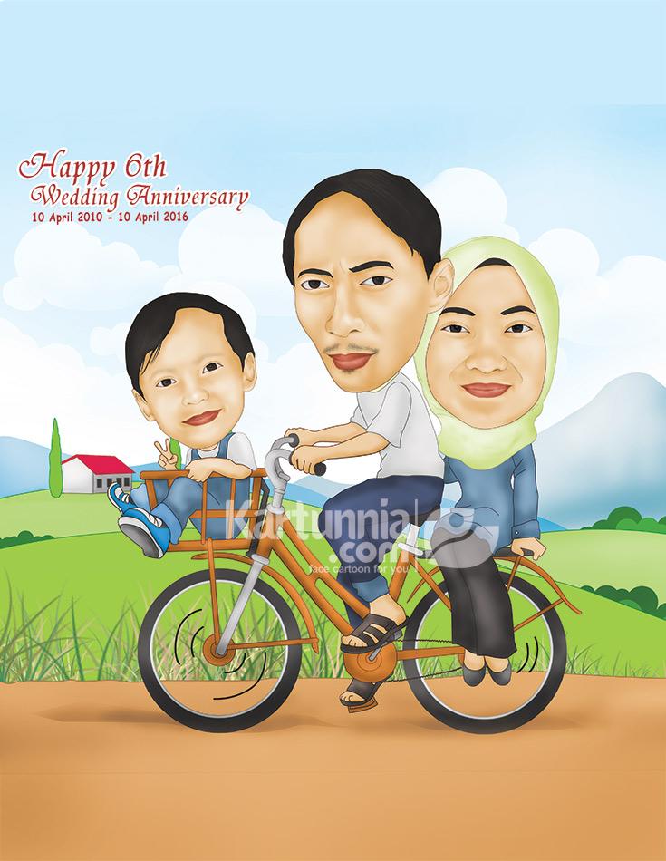 Karikatur Keluarga Naik Sepeda Kartunnia