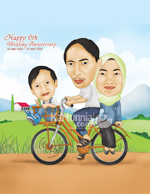 Karikatur Keluarga Naik Sepeda