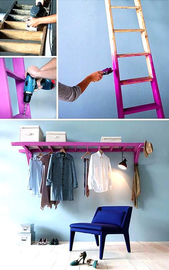Como hacer con una escalera un perchero-ropero