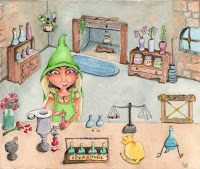 Whimsical Cat and Alchemist Alembic Science Lab Supplies Castle Tower Watercolor Illustration