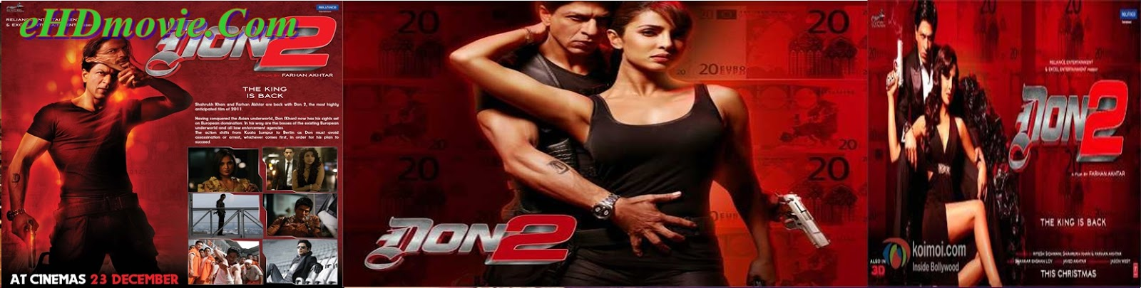 Don 2 2011 Full Movie Hindi 720p - 480p ORG BRRip 550MB - 1.1GB ESubs Free Download