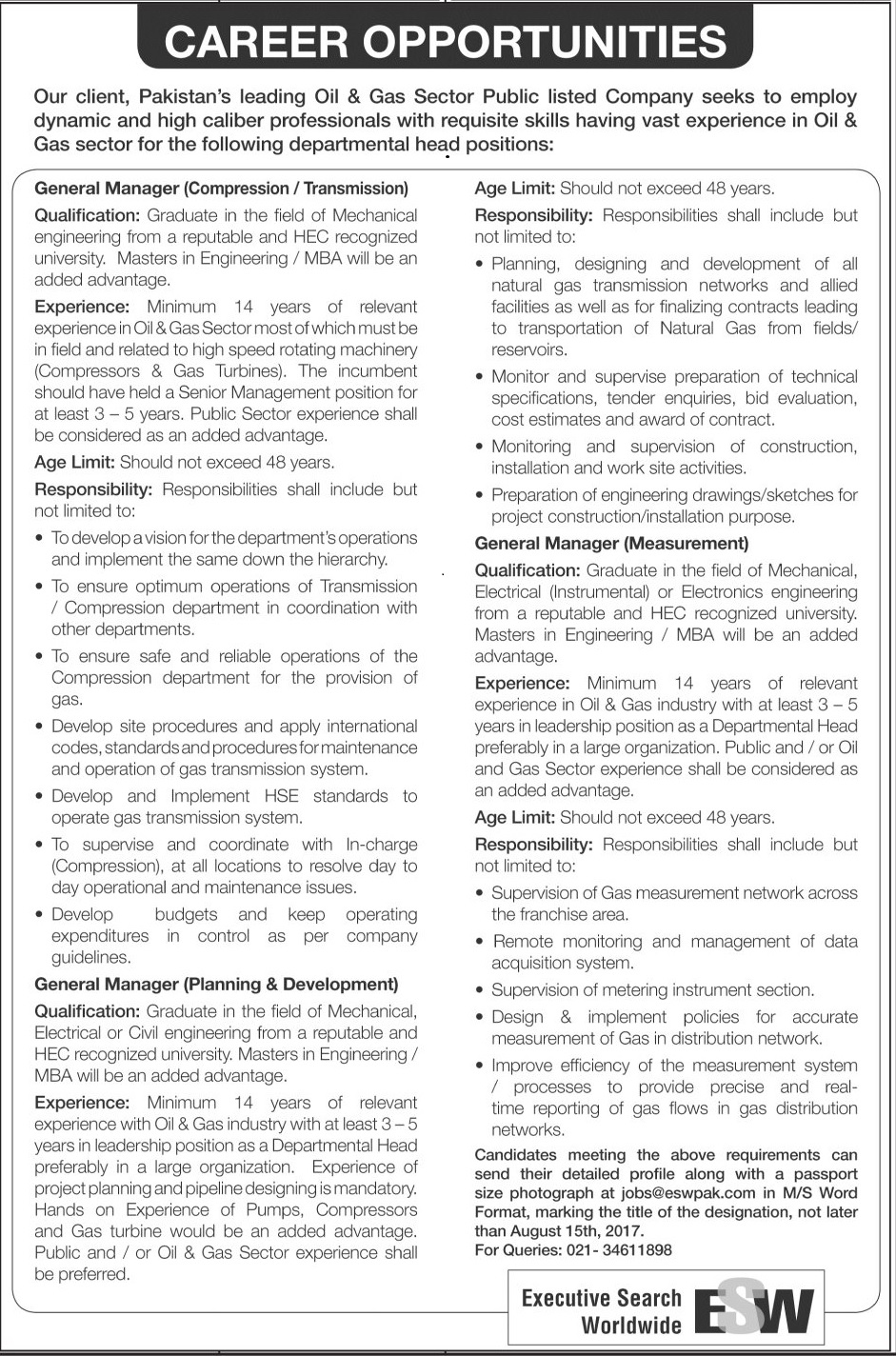Jobs In Oil And Gas Sector Company Karachi  Jul 2017