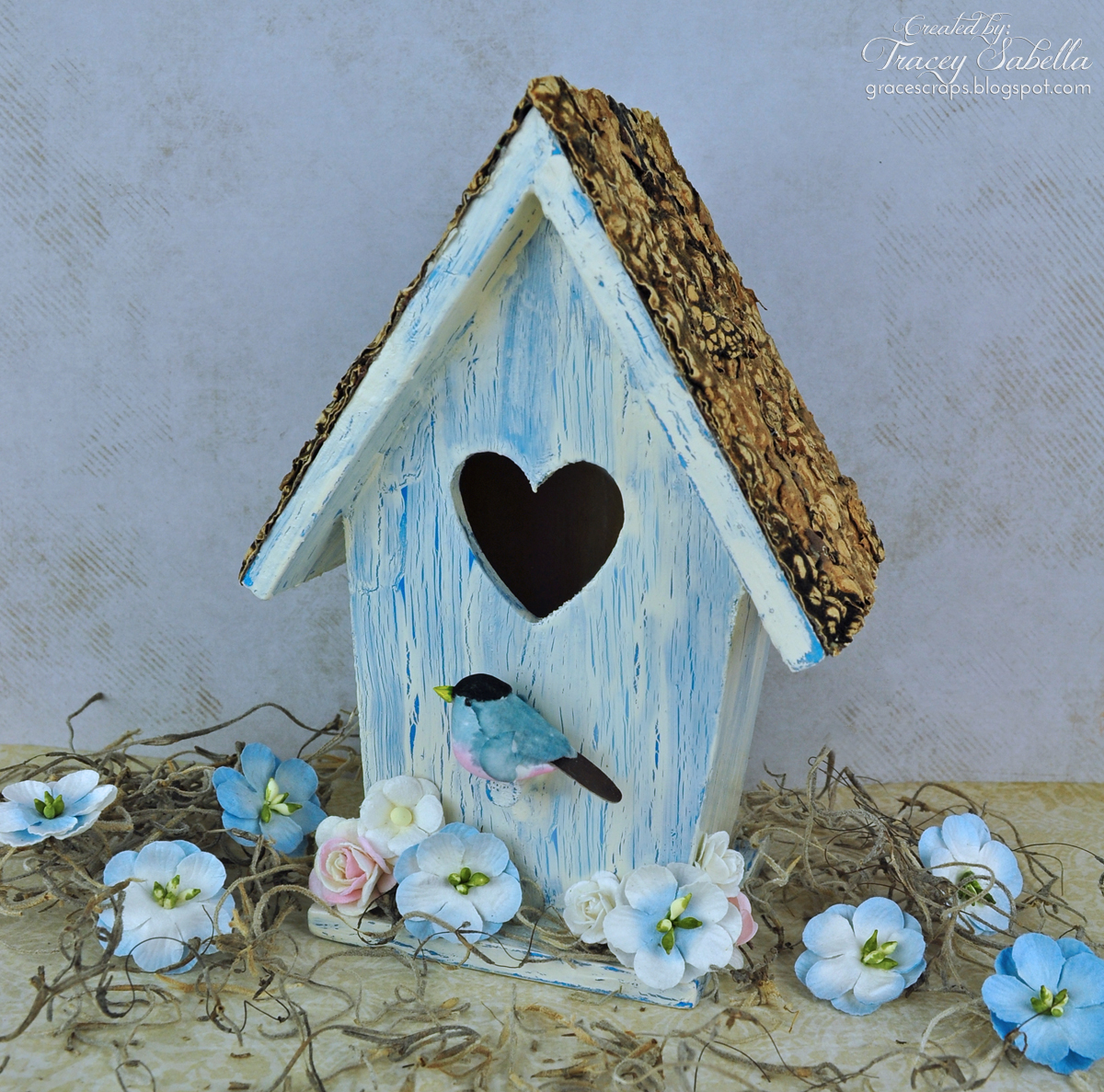 Shabby Chic Bird House by Tracey Sabella for Helmar Crackle Paint, Mixed Media