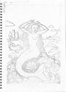 Mermaid, ship and island