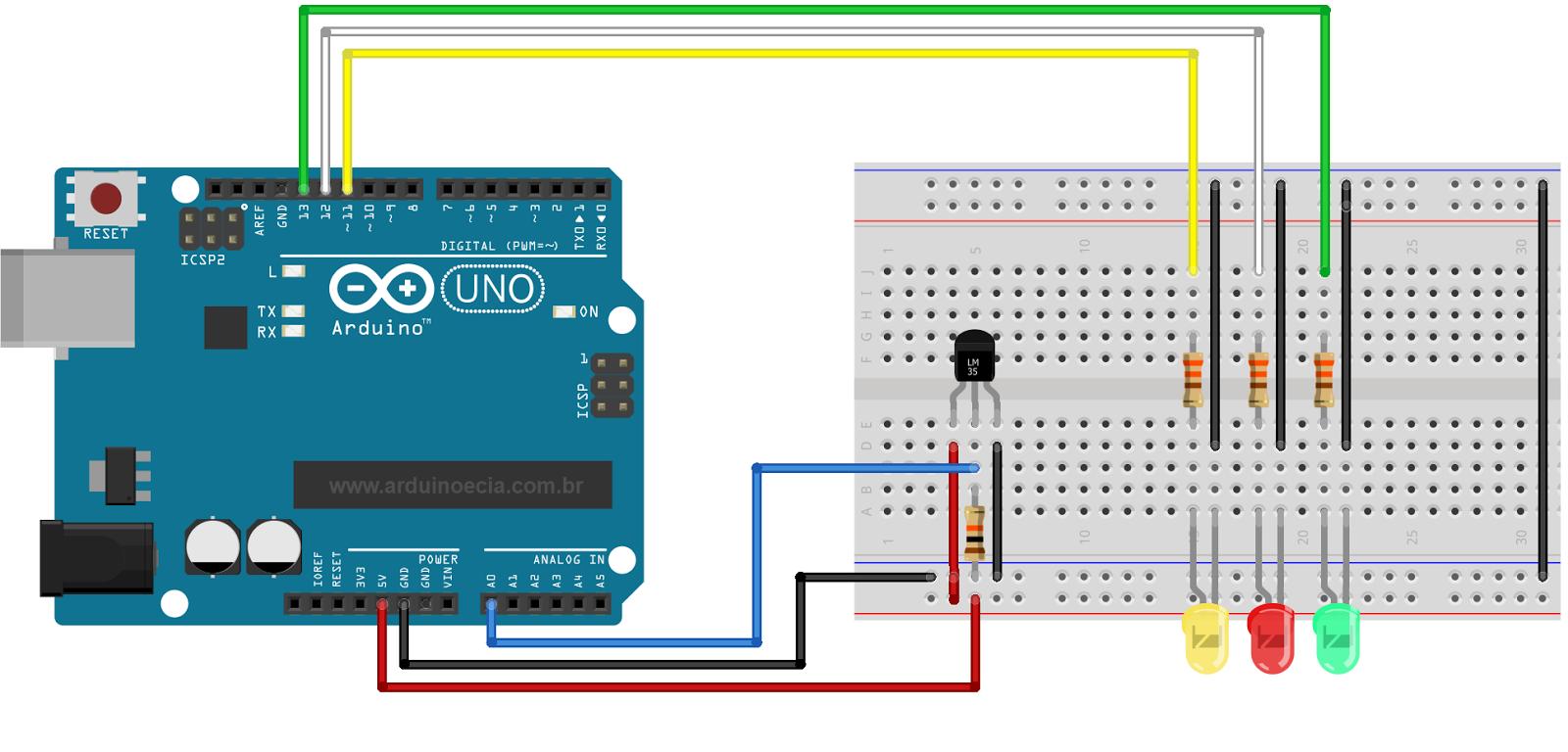 Circuito sensor de temperatura LM35 com Arduino