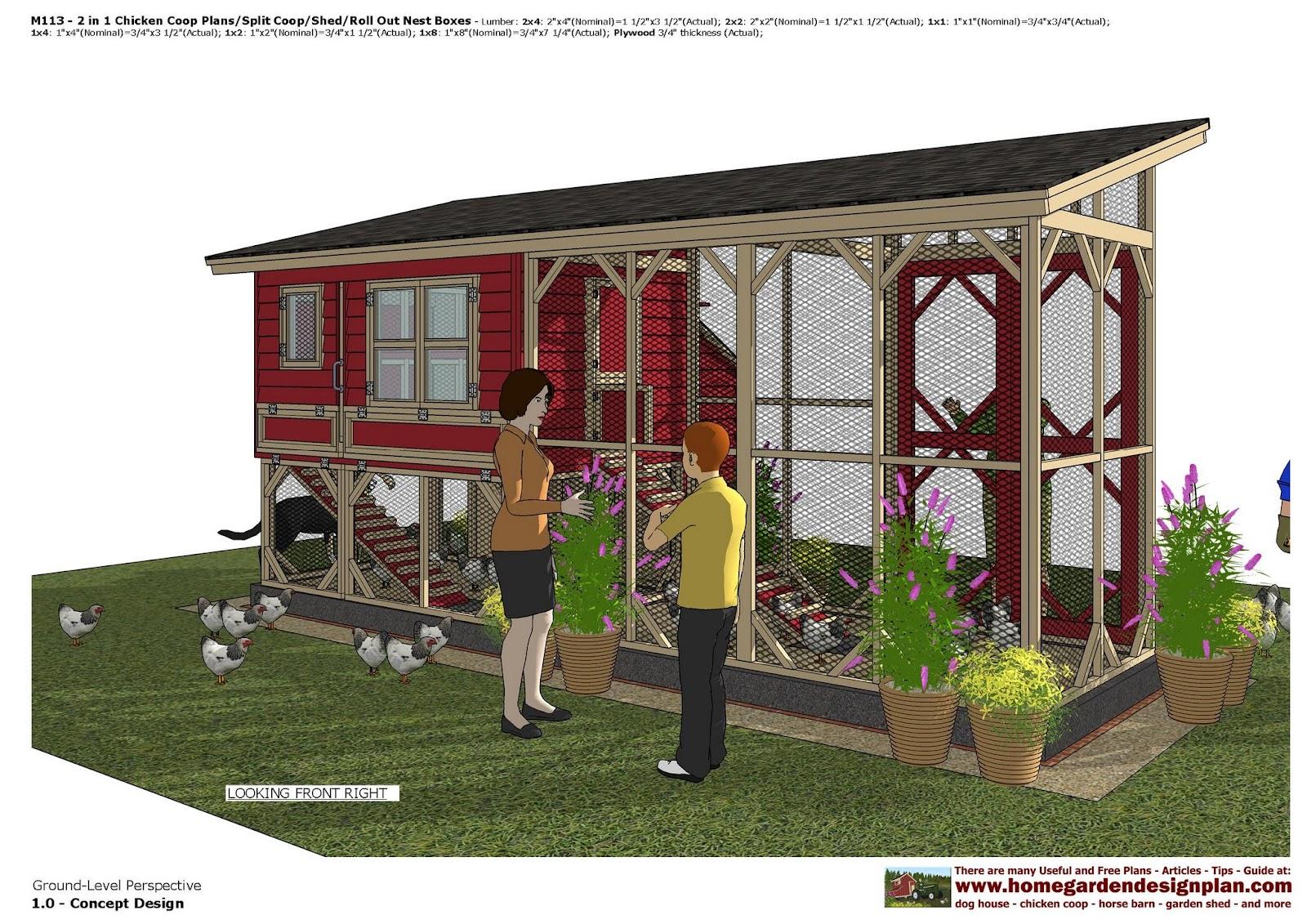 Garden Sheds 2 5 X 1 5 home garden plans: m113 _ 2 in 1 chicken coop plans - split
